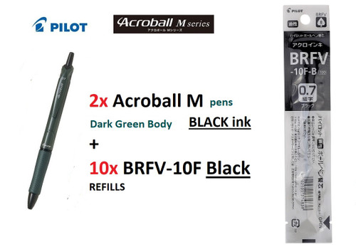 Pilot Acroball M SERIES 0.7mm BAB15F- 2x Khaki Green Body BLACK +10x REFILLS BLACK