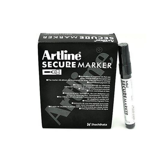Artline Secure Marker 4.0mm Chisel Tip EKSC4 - 1 DOZEN BLACK