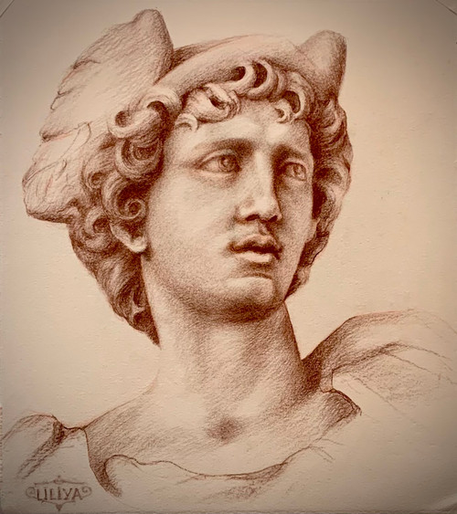 antique, drawing, roman, sculpture, sepia, paper