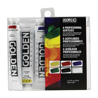 Golden Artist Colors Set: Intro Set 6 Colors Set + Case