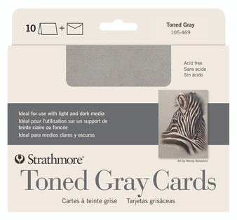 Strathmore Blank Cards 5x7 Toned Grey 10 Pack