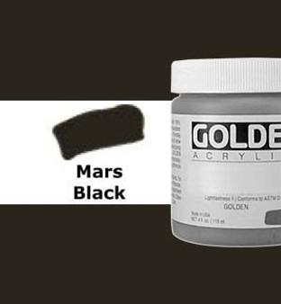 Golden Artist Colors Heavy Body Acrylic: 4oz Mars Black
