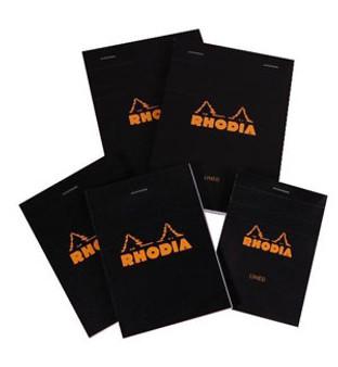 Rhodia Topbound Stapled 3.38x4.75 Black Line