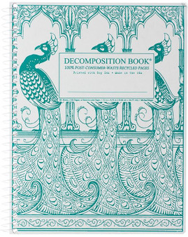 Michael Roger Press Decomposition Notebook Coilbound Blank Peacocks