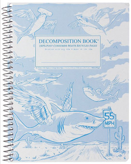 Michael Roger Press Decomposition Notebook Coilbound Ruled Flying Sharks