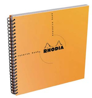 Rhodia Wire Side-Bound 8x8 Sq Reverse Book Gridded Orange