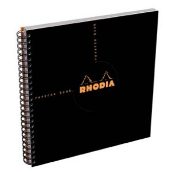 Rhodia Wire Side-Bound 8x8 Sq Reverse Book Gridded Black