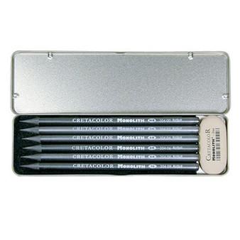 Cretacolor Monolith Graphite Pencil and Eraser Pocket Set of 7