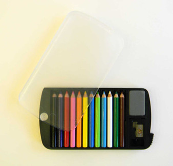Mini Colored Pencil Set of 12 with Sharpener and Eraser in Plastic Case