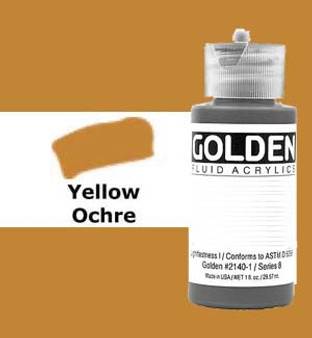 Golden Artist Colors Fluid Acrylic: 1oz Yellow Ochre