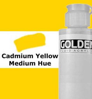 Golden Artist Colors Fluid Acrylic: 4oz Cadmium Yellow Medium Hue