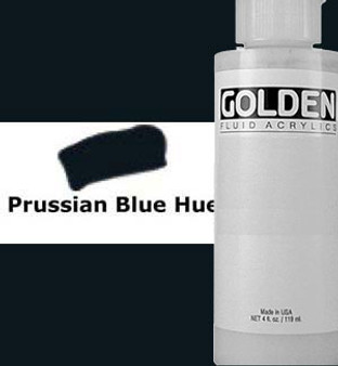 Golden Artist Colors Fluid Acrylic: 4oz Historical Prussian Blue Hue