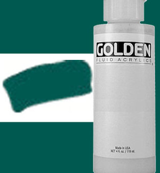 Golden Artist Colors Fluid Acrylic: 4oz Viridian Green Hue