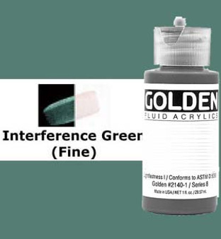 Golden Artist Colors Fluid Acrylic: 1oz Interference Green Fine
