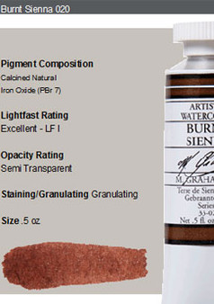 M. Graham Watercolor Series 1: 15ml Burnt Sienna