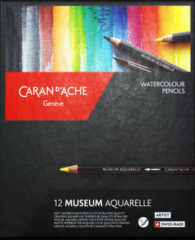 Caran d'Ache Museum Aquarelle Watercolor Pencil 12 Assorted Colors Set
