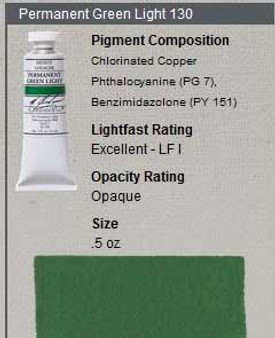 M. Graham Gouache Series 2: 15ml Permanent Green Light