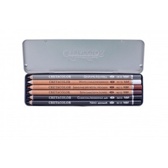 Cretacolor 6 Basic Drawing Pencil Pocket Tin