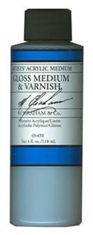 M. Graham Acrylic Medium: 4oz Gloss & Varnish