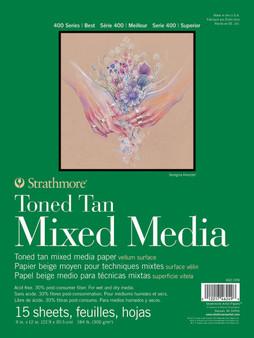 "Strathmore Toned Tan Mixed Media Pad 9x12"""