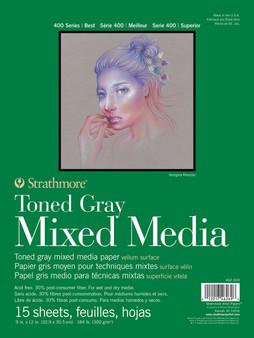 """Strathmore Toned Gray Mixed Media Pad 9x12"""""""
