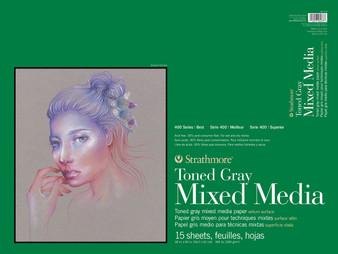 """Strathmore Toned Gray Mixed Media Pad 18x24"""""""