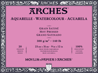 Arches Watercolor Block 140lb Hot Press 9x12