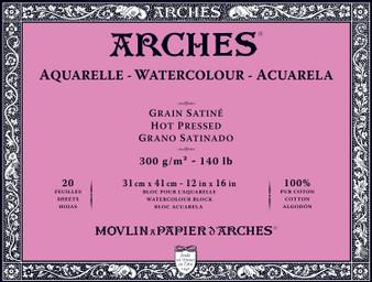 Arches Watercolor Block 140lb Hot Press 12x16