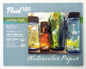 "Fluid 100 Pochette 140lb Hot Press 8x10"""