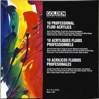Golden Artist Colors Set: Fluid Set 10 1oz Colors