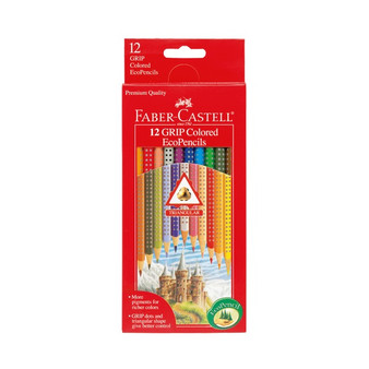 Faber-Castell Red Label 12 Color Grip Colored EcoPencils