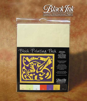 Black Ink Block Printing Pack of 9x12 Mulberry Paper- Assorted Colors