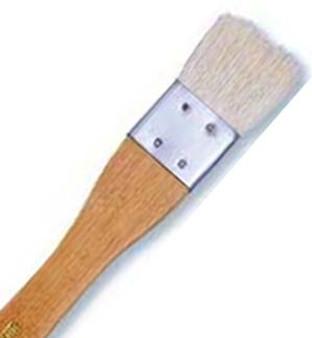 Yasutomo Flat Hake Sheep Hair 1-3/8in Flat Brush with Metal Ferrule