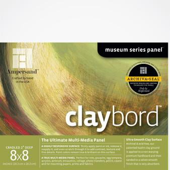 Ampersand Museum Series Claybord Cradled 2-Inch 8x8