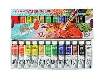 Holbein Duo Aqua Oil Set: 12 10ml Tubes