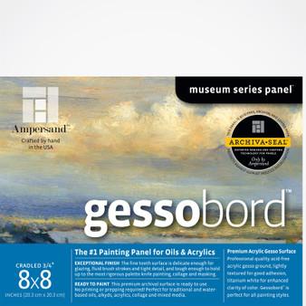 Ampersand Museum Series Gessobord Cradled 3/4-Inch 8x8