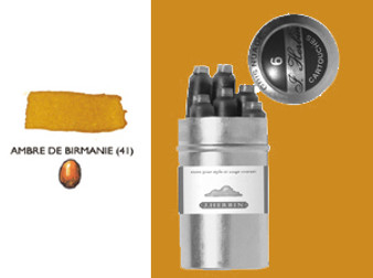 J. Herbin Fountain Pen Ink Cartridges 6pk Ambre Birman