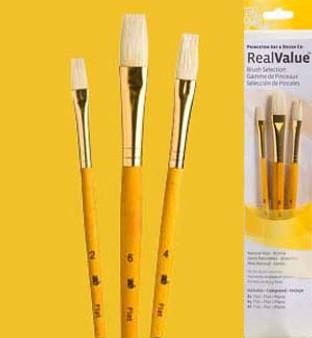 Princeton RealValue Brush Pack Bristle Flat 3pk
