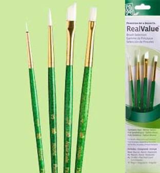 Princeton RealValue Brush Pack White Taklon 4pk - 3/0, 1/4, 3, & 4