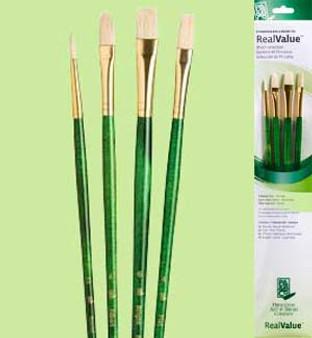 Princeton RealValue Brush Pack Bristle Bright Flat/Filbert 4pk
