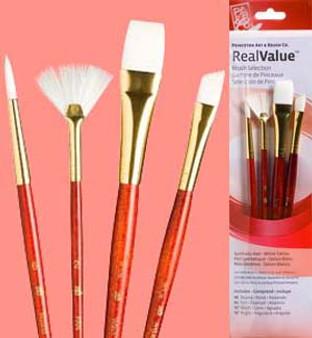 """Princeton RealValue Brush Pack White Taklon 4pk - 6, 2, 5/8"""", & 3/8"""""""