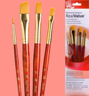 Princeton RealValue Brush Pack Gold Taklon Round/Shader/Angle
