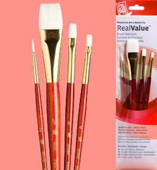 """Princeton RealValue Brush Pack White Taklon 4pk- 2, 3/4,"""" 8, & 4"""