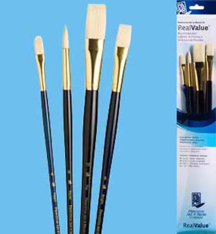 Princeton RealValue Brush Pack Bristle Bright/Filbert/Round 4pk
