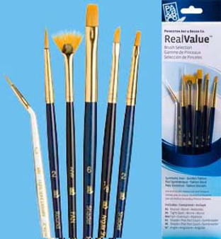 Princeton RealValue Brush Pack Gold Taklon Liner/Fan