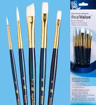 """Princeton RealValue Brush Pack White Taklon 5pk - 1, 4, 3/8,"""" 8, & 4"""