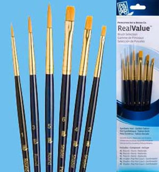 Princeton RealValue Brush Pack Gold Taklon Round/Shader 6pk
