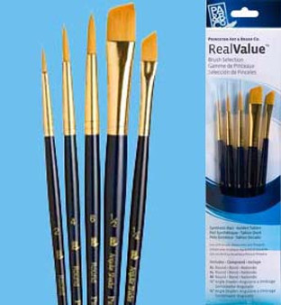 Princeton RealValue Brush Pack Gold Taklon Round/Angle 6pk