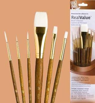 """Princeton RealValue Brush Pack White Taklon 6pk - 1, 3/0, 2, 3/4"""", 6, & 4"""