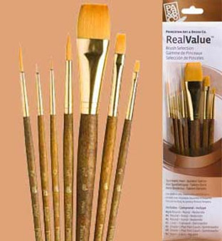 Princeton RealValue Brush Pack Gold Taklon 7pk